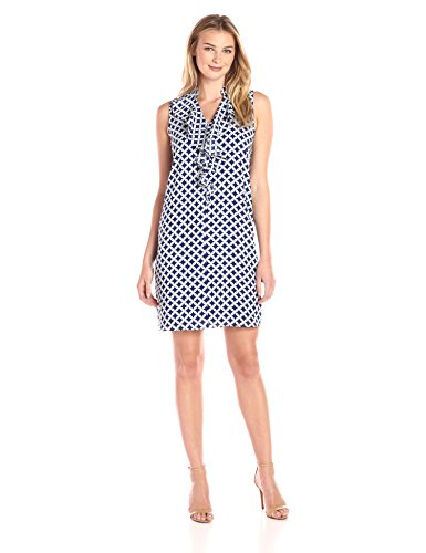 Lark & Ro Women's Sleeveless Cascade Ruffle Neck Tie Dress, Chain Geo, Medium