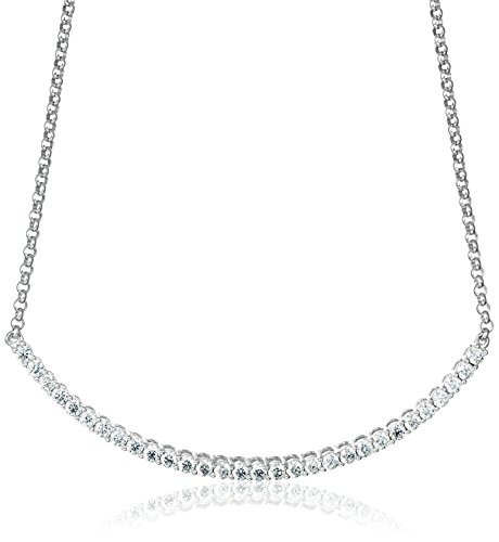 Platinum over Sterling Silver VG Moissanite Curved Bar Necklace, 17