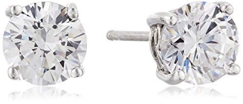 Platinum-Plated Sterling Silver Round-Cut  Swarovski Zirconia Stud Earrings (2 cttw)
