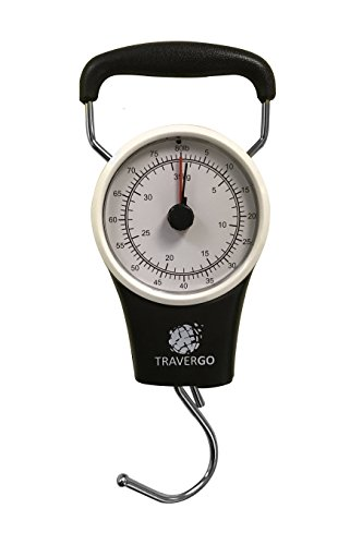 Go Green Power Analog Luggage Scale with Hook, Black, 0.26 Pound