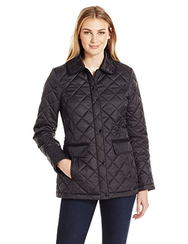 Lark & Ro Women's Quilted Barn Jacket, Black, L