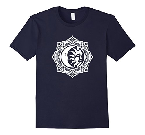 Mens Namaste Sun and Moon Yoga T-Shirt XL Navy