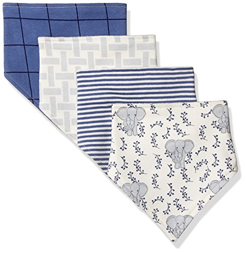 Touched by Nature Baby Organic Cotton Bandana Bibs 4-Pack, Elephant, 0-9 Months