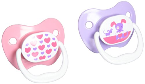 Dr. Brown's PreVent Classic Pacifier, Stage 1 (0-6m), Unique Pink/Purple, 4-Pack