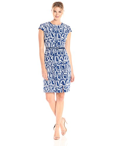 Lark & Ro Women's Cap Sleeve Sheath Dress with Bow Belt, Modern Geo Print, Extra Large