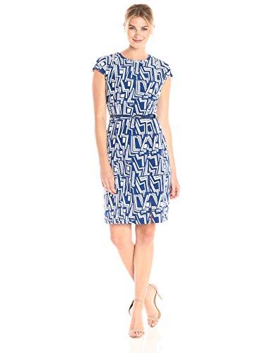 Lark & Ro Women's Cap Sleeve Sheath Dress with Bow Belt, Modern Geo Print, Extra Large
