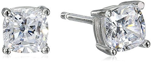 Platinum Plated Sterling Silver Cushion Cut 5mm Cubic Zirconia Stud Earrings (1 cttw)