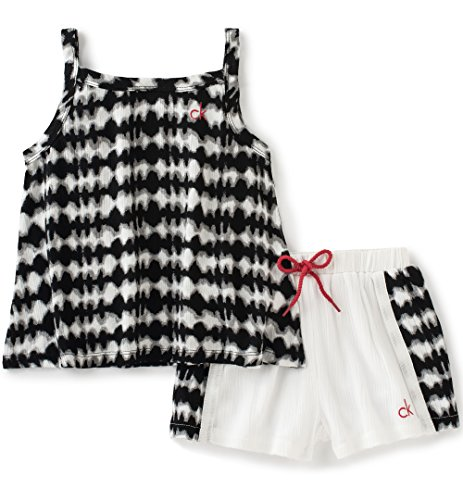 Calvin Klein Little Girls' 2 Pieces Bebop Short Sets, Multi, 5