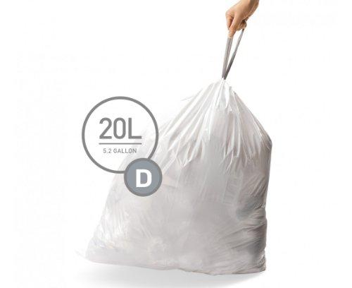 simplehuman Code D Custom Fit Liners, Drawstring Trash Bags, 20 Liter / 5.2 Gallon, 3 Refill Packs (60 Count)