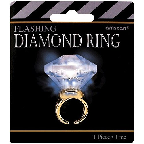 Amscan Glamorous 20's Old Hollywood Themed Party Light-Up Diamond Bling Ring (1 Piece), White/Gold, 4.2 x 3.8