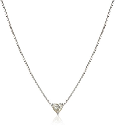 Platinum Over Sterling Silver 5 Mm Heart Moissanite Pendant Necklace, 18