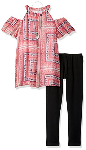 Amy Byer Big Girls' Mock Neck Cold Shoulder Tunic with Necklace and Legging, Pat Pure/Coral, XL