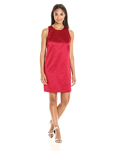 PARIS SUNDAY Women's  Sleeveless Keyhole Back Sateen Sheath Dress, Scarlet, Large
