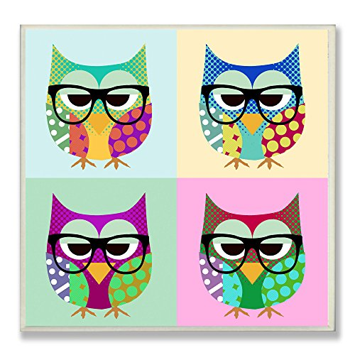 Stupell Home Décor Owls Wearing Eyeglasses Square Wall Plaque, 12 x 0.5 x 12, Proudly Made in USA