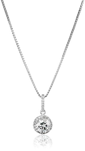 Platinum over Sterling Silver VG Moissanite Framed Round Pendant Necklace, 18