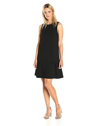PARIS SUNDAY Women's Sleeveless Ponte Dropwaist Dress, Black, M
