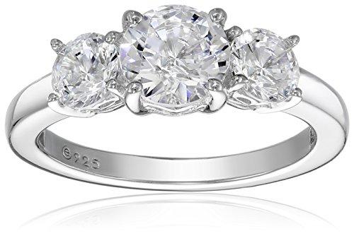 Platinum-Plated Sterling Silver Swarovski Zirconia 2 cttw Round 3 Stone Ring, Size 6