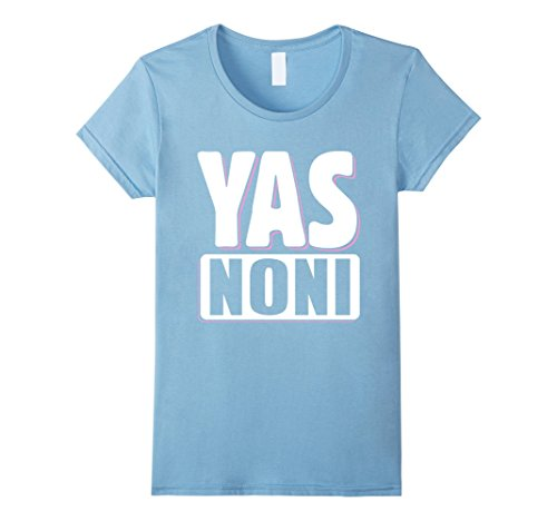 Womens YAS Noni Satisfied and Happy Noni T Shirt Medium Baby Blue