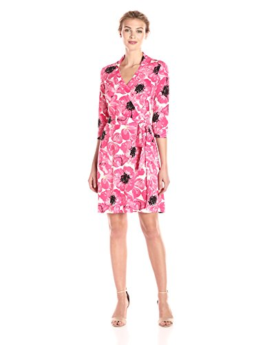 Lark & Ro Women's Dresses Collared 3/4 Sleeve Wrap Dress, Magenta Poppy, Small