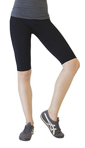 D&K Monarchy Women's Seamless Knee Length Capri Tights, Black, 0-6