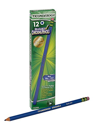 Dixon Ticonderoga Erasable Checking Pencils, Eraser Tipped, Pre-Sharpened, Pack of 12, Blue (14209)