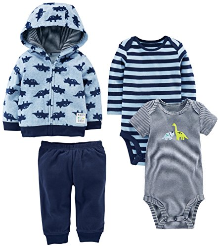 Simple Joys by Carter's Baby Boys' 4-Piece Fleece Jacket Set, Blue Dino, 24 Months