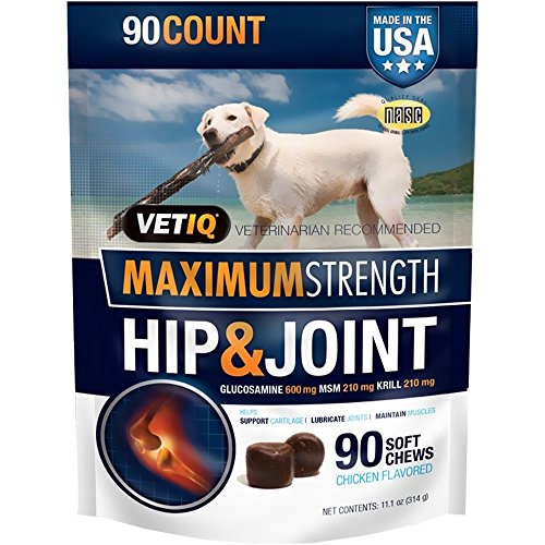 VetIQ Maximum Strength Hip & Joint, 90 Chicken Flavored Soft Chews for Dogs, 11.1 oz
