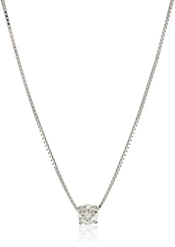 Platinum Over Sterling Silver 5 Mm Round Moissanite Pendant Necklace, 18