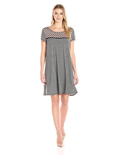 Lark & Ro Women's Short Sleeve Scoopneck T-Shirt Dress, Black/Blush Dot, Large