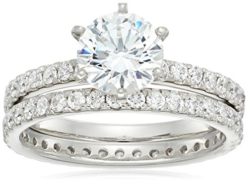 Platinum-Plated Sterling Silver Swarovski Zirconia Ring Set, Size 6
