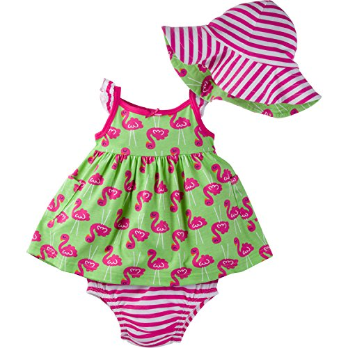 Gerber Baby Girls' Sundress, Bloomer and Hat Set, Flamingo, 0-3 Months