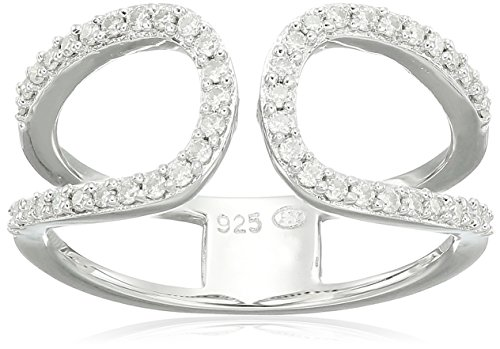 Platinum over Sterling Silver VG Moissanite Geo Ring, Size 7