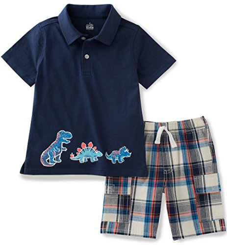 Kids Headquarters Little Boys' 2 Pieces Polo Top Shor Set, Navy, 5