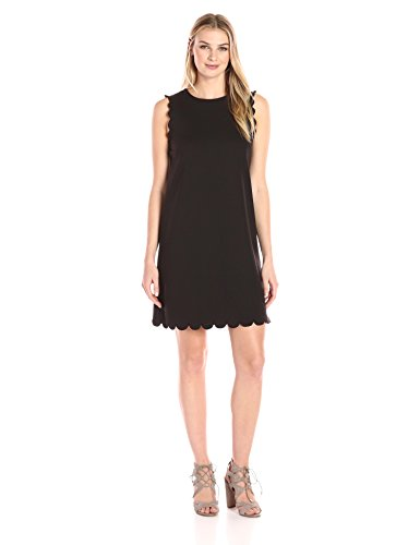 Lark & Ro Women's Sleeveless Scallop A-line Dress, Noir, Extra Small
