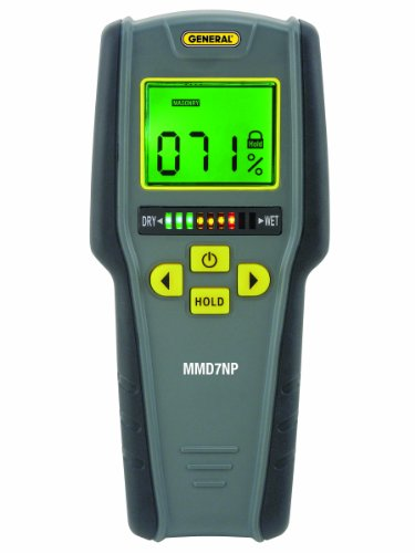 General Tools MMD7NP Moisture Meter, Pinless, Digital LCD with Tricolor Bar Graph