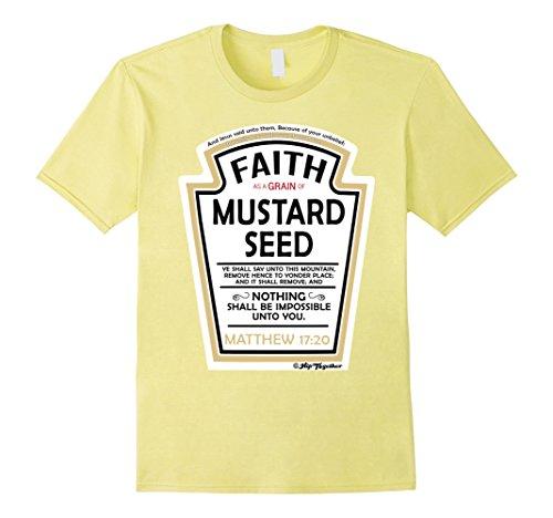 Men's Faith as a Grain of Mustard Seed Christian Parody T-Shirt XL Lemon