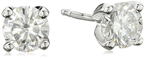 Platinum over Sterling Silver VG Moissanite 5mm Stud Earrings