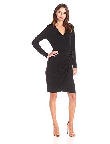Lark & Ro Women's Dresses Long-Sleeve Wrap, Black, Small