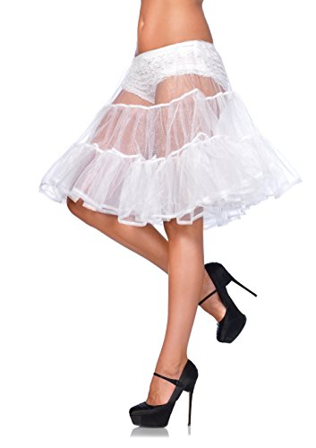 Leg Avenue Women's Shimmer Organza Knee Length Petticoat Skirt, White, One Size