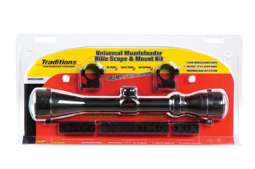 Traditions Performance Firearms Muzzleloader Hunter Series Clam Pack Universal Mount- 3-9x40 Matte Scope, Rings, and Bases for Most Inline Muzzleloaders