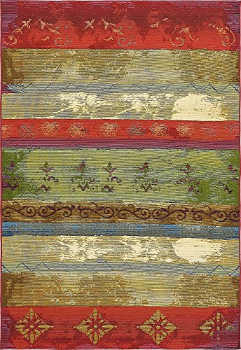 Unique Loom 3138631 Modern Vintage 5 8 Feet (5' x 8') Eden Outdoor Contemporary Area Rug, 5 x 8, Multi