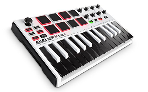 Akai Professional MPK Mini MKII White | 25-Key Ultra-Portable USB MIDI Drum Pad & Keyboard Controller with Joystick - Limited Edition